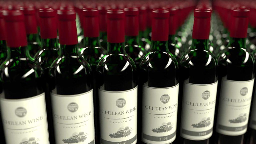 チリのワインボトル