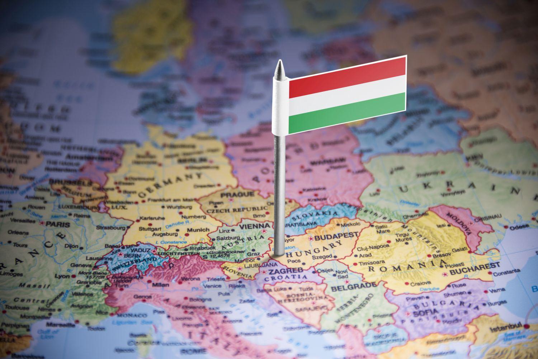 地図の上のハンガリー