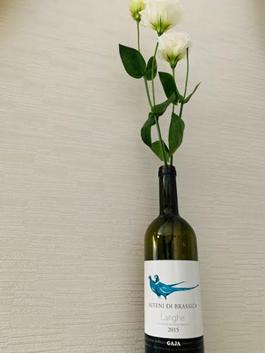 ワインボトルを花瓶に